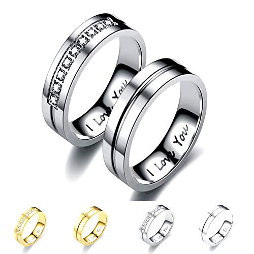 LONG-D Wedding Band Couple Rings Set for Men And Women Titanium Stainless Steel Jewelry Finger Ring,Silver,11 = 21mm