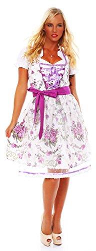 Fashion4Young 10588 Damen Dirndl 3 TLG.Trachtenkleid Kleid Mini Bluse Schürze Trachten Oktoberfest (36, Weiß Lila)
