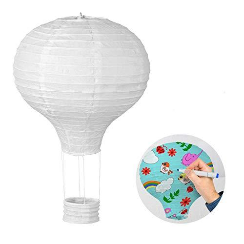 Lihao - Lote de 6 farolillos de papel, diseño de globo aerostático, color blanco