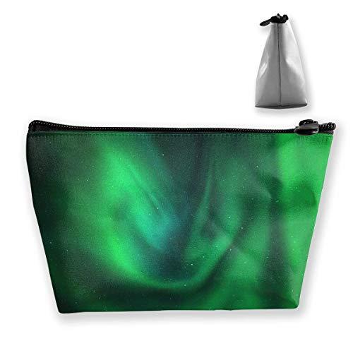 DJNGN Winter Northern Perfect Green Aurora Schminktasche Große trapezförmige Aufbewahrung Reisetasche Waschen Kosmetikbeutel Stifthalter Reißverschluss Wasserdicht