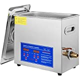 VEVOR Commercial Ultrasonic Cleaner 6L Professional 304 Stainless Steel Cleaner 40kHz with Digital Timer&Heater 110V Excellent Cleaning Machine for Watch Glass Small Parts Mental Instrument Industrial Parts Excellent Large Capacity Cleaner Solution