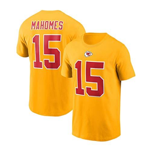 Xiaolimou Camiseta De Rugby para Hombre NFL Kansas City Chiefs #15 Patrick Mahomes Camisa De Manga Corta Ropa para Jóvenes Sudadera, Camisetas De Rugby, Lavables A Máquina,Amarillo,XXL