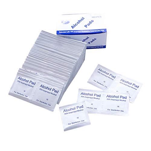Garneck Almohadillas de Preparación de Alcohol Estériles 600Pcs Toallitas de Alcohol Envueltas Individualmente para La Limpieza de Dispositivos Portátiles de Teléfonos Inteligentes (Blanco)