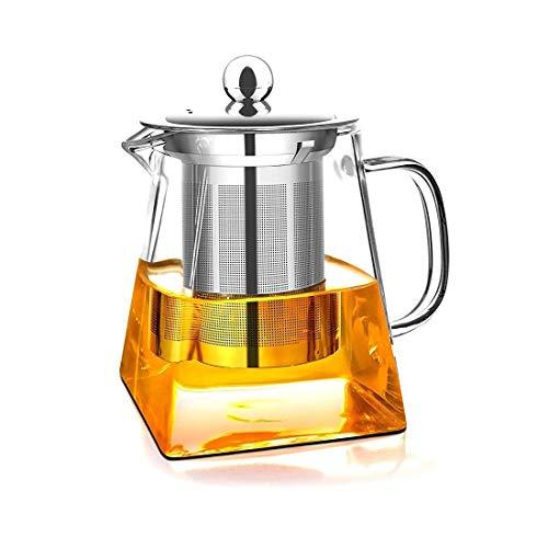 AckMond 350 ml teiera di vetro trasparente con infusore in acciaio inox resistente al calore e costa