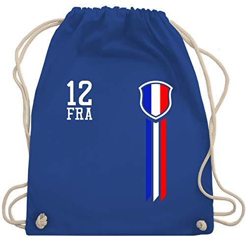 Shirtracer Fussball EM 2021 Fanartikel - 12. Mann Frankreich Fanshirt - Unisize - Royalblau - frankreich trikot kinder - WM110 - Turnbeutel und Stoffbeutel aus Baumwolle
