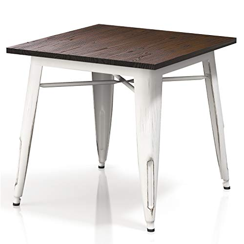 "VIPEK Heavy-Duty Metal Dining Table with Elm Wood Top 31.4"" Square 29.5"" High Bistro Bar Cafe Restaurant Home Kitchen Dining Room Table Patio Table Industrial Style, Distressed White Color"