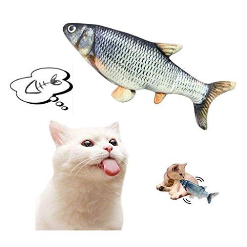 Marvvola Elektrische wedelnde Fische katzenspielzeug elektrische Puppe Fisch Katze wedelt Fisch realistische Plüsch Simulation elektrische Puppe Fisch Plüschtier (Elektrisches Spielzeug-A)