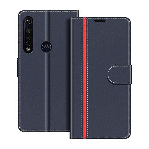 COODIO Handyhülle für Motorola Moto G8 Plus Handy Hülle, Motorola Moto G8 Plus Hülle Leder Handytasche für Motorola Moto G8 Plus Klapphülle Tasche, Dunkel Blau/Rot