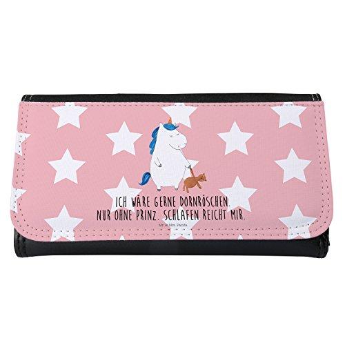 Mr. & Mrs. Panda Portemonnaies, Portemonee, Damen Portemonnaie Einhorn Teddy mit Spruch - Farbe Rot Pastell