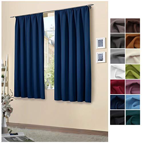 heimtexland ® 1 Paar Verdunklungsgardinen Kräuselband dunkelblau 175x135 Typ139