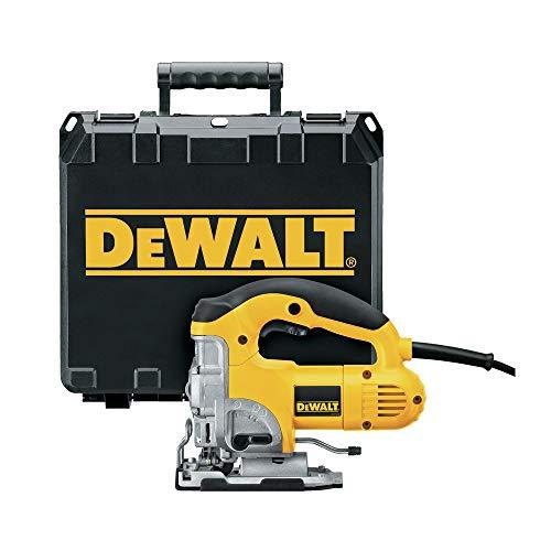Dewalt DW331K-QS Sierra de calar 230V Electrónica con puño cerrado maletín, Negro y amarillo, EA