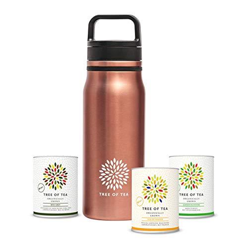 Tree of Tea Tee-Geschenkset mit Thermosflasche 700ml & 3x losem Bio-Tee von mymuesli – Thermo Bottle 2go Set in grauer Geschenkbox – Edelstahlflasche mit integriertem Teesieb – hält 24h kalt, 12h heiß