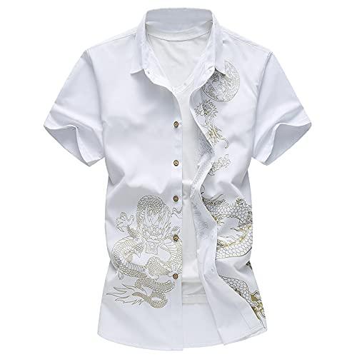 Hemd Herren Sommer Mode Strickjacke Slim Fit Modern Herren Shirt Modern Trend Druck Herren Kurzarm Täglich Casual Urlaub All-Match Herren Freizeithemden