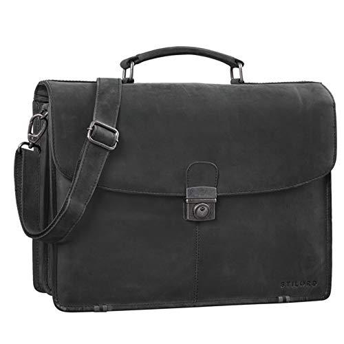STILORD 'Miguel' Klassische Leder Aktentasche Schwarz Herren große Businesstasche Arbeit Bürotasche mit Schloss zum Umhängen 15,6 Zoll Laptoptasche, Farbe:anthrazit