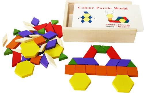 Toys of Wood Oxford TOWO Madera Bloques y Rompecabezas de 60 Piezas de Madera - Clasificador de Forma Tangram Rompecabezas - Formas geometricas niño - Puzzle 4 Años - Regalos Cumpleaños Niños 5 Años (Juguete)