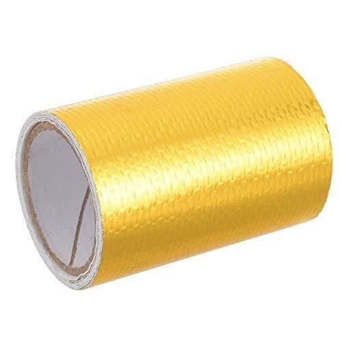 Hoge temperatuur Warmte Reflecterende Lijm Backed Tape 1Roll 50mm x 8m Goud Glasvezel Lijm Backed Heat Barrier Tape Glasvezel Warmteschild voor Auto Intake Pipe,Engine Bay