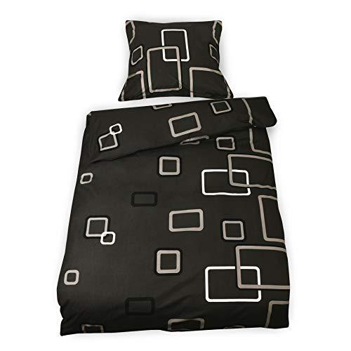 Beautissu Renforcé Bettwäsche 155x220 cm Noa - Kühlendes Bezüge Set Bezug Bettdecke warm & Kissenbezug 80x80 cm - Bettbezug mit Reißverschluss und 100% Baumwolle