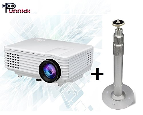 Punnkk P5 800Lmns Portable Mini LED LCD Projector for Home Cinema Theater with Ceiling Mount Stand (20-40cm)