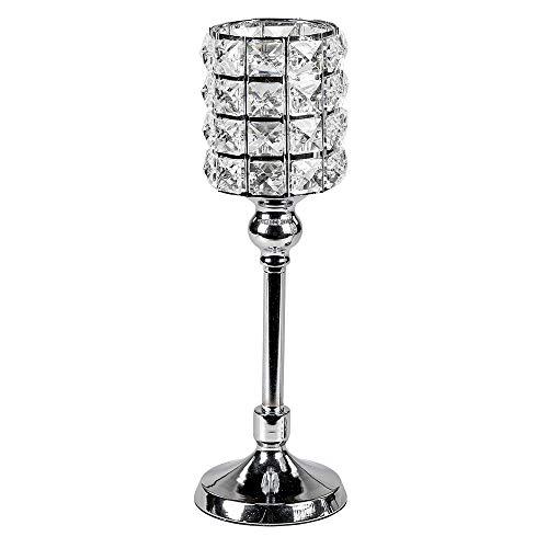 formano Kerzenhalter Wili Chrom Stones auf Fuß H. 35cm mit Kristallglas Silber