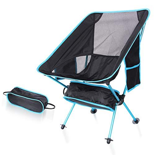 MOKA OUTDOOR tragbarer Klapp-Campingstuhl, ultraleichter Rucksack mit Tragetasche + Seitentasche für Outdoor, Camping, Angeln, Strand, Reisen,Blue