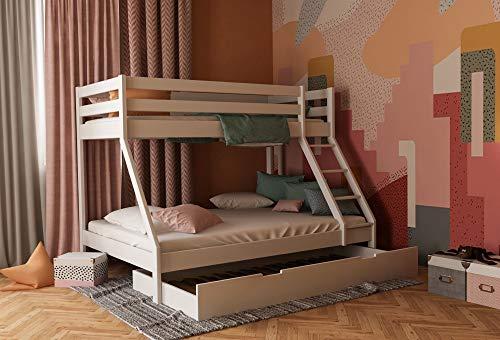 Etagenbett 140x200 und 90x200 mit Bettkasten, Stockbett für Kinder und Erwachsene, Doppelstockbett mit Schubladen inkl. Lattenrost und Absturzsicherung (Weiß, Mit Bettkasten)