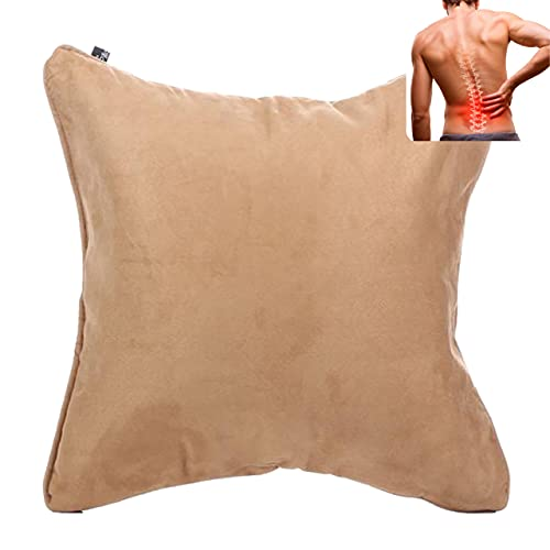 QiPillow - Pain Relieving Ergonomic & Orthopedic Back Lumbar & Posture Support Seat Throw Pillow for Chair, Couch, Bed (Camel)