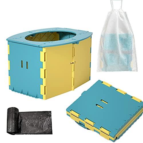 Pieghevole Vasino per Bambini, Vasino da Viaggio per Bambini, Plastica Ecologica ABS, Viaggi All'aperto o Allenamento Vasino, Invia sacchi della spazzatura e sacchi per la conservazione
