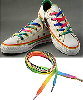 1 Pairs 110cm Rainbow Flat Canvas Athletic Shoelace Sport Sneaker Shoe Laces Strings Free Shipping