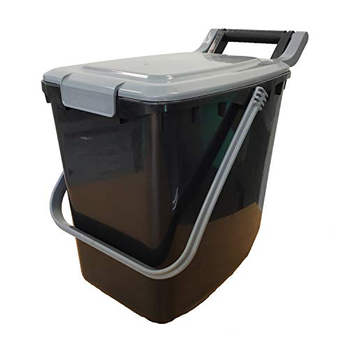 All-Green Large Compost Caddy - Black with Silver lid - for Food Waste Recycling (23 Litre) - 23L Plastic Composting Kerbside Bin (Clip Lid)