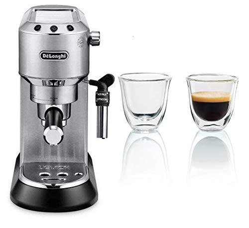 De'longhi Dedica - Cafetera de Bomba de Acero Inoxidable para Café Molido o Monodosis, Cafetera para Espresso y Cappuccino, EC685.M, Metal + Juego de 2 vasos premium para espresso