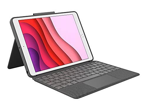 Logitech Combo Touch für iPad(7. Gen) A2200, A2197, A2198 und (8. Gen) A2270, A2428, A2429, A2430, Tastatur-Hülle mit Trackpad, abnehmbares Keyboard,Smart-Connector-Technologie-QWERTZ Layout, Schwarz
