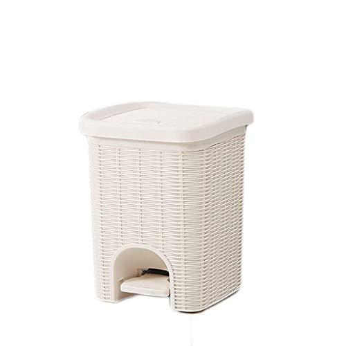 1yess Mülltonne 6l Quadratisch Pedal Mülleimer Kanal Mülleimer Mülleimer Zimmer Badezimmer Küchenabfall Recycling Bin Brown Abfallbehälter (Farbe: braun, Größe: 6liter)