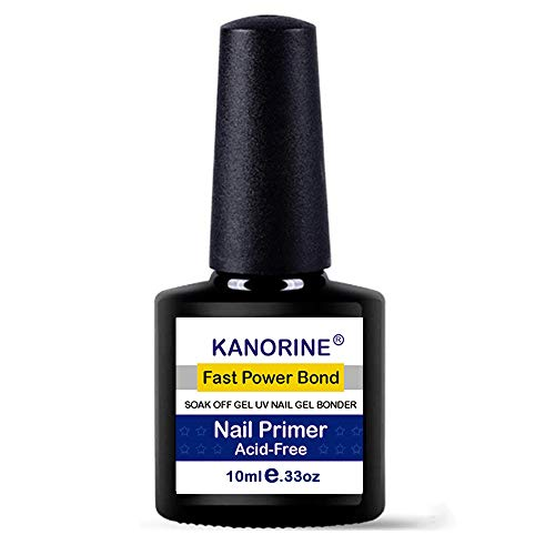Kanorine non-acid Natural Nail Primer/Acrylic Nails Primer,Gel Power bonder Agent for all uv/led gel nail polish Bonder Nail Tech Essential Primer Liquids 10ml