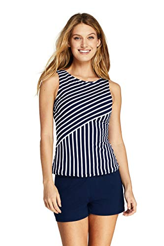 Lands' End Women's High Neck UPF 50 Modest Tankini Top Swimsuit Print 18 Deep Sea Mixed Diagonal Stripe