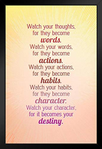 Watch Your Thoughts Bright Motivational Art Print Stand or Hang Wood Frame Display Poster Print 9x13