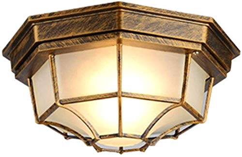 Lámpara de techo, Lámparas de techo Vintage Nórdico Negro Aluminio y vidrio Lámpara de vidrio Luz de techo Retro E27 Iluminante Diseño octogonal Lámpara de techo Sala de estar Gear ,lámpara de techo,