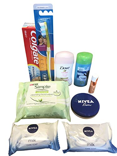 Complete Mini Travel Plane Bundle - 9 Items - Toiletries for Body Skin, Oral, Lip and Hair Care with Bath Essentials