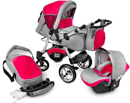 GagaDumi Urbano Passeggino TRIO Baby Carrozzina 3in1 Seggioliono OVETTO AUTO,Fatto nell'Unione Europea (U11-Red zone)