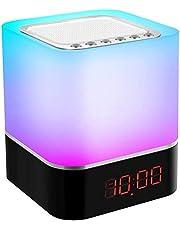 Swonuk Bluetooth Luidspreker Nachtlampje met Wekker Nachttafellamp, MP3-muziekspeler, Cadeaus voor kinderen en tieners