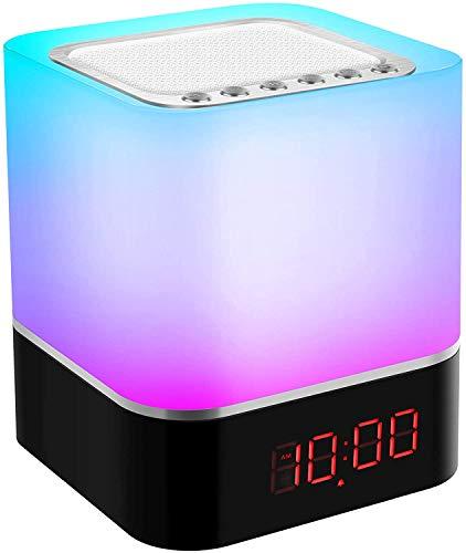Swonuk Nachtlicht Lautsprecher Bluetooth Berührungssensor Nachttischlampen mit Wecker und Musik-Player, 7 Farbwechselnden Tischlampe für Kinder Geschenke