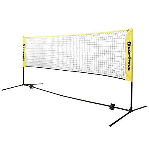 SONGMICS 4 m Badmintonnetz, Tennisnetz, höhenverstellbar, Set bestehend aus Netz, stabilem Eisen-Gestell und Transporttasche SYQ400Y