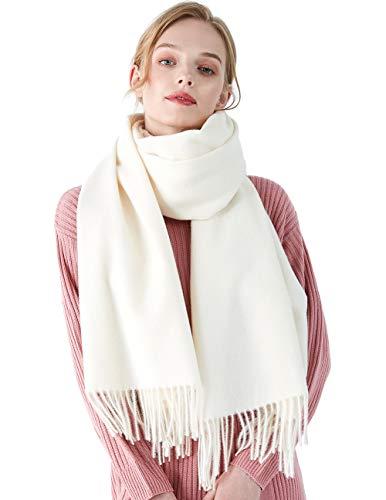 CARESEEN Schal Damen Herbst Winter Mehrfarbige Deckenschal Halstuch Tuch Stola Schultertuch MEHRWEG weiß