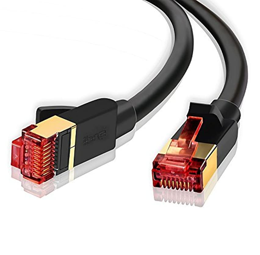 IBRA Ethernet Gigabit LAN Network Cable, 10 ft(2 Pack) Supports Advanced CAT 7/6 / 5e / 5 High Speed RJ45 Patch Cord | STP 10/100/1000Mbit/s Gold Plated Lead for Switch/Router/ Modem Round Black