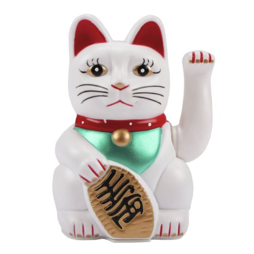 MIK Funshopping Winkekatze Maneki Neko (Weiß farbig dekoriert, 16cm)