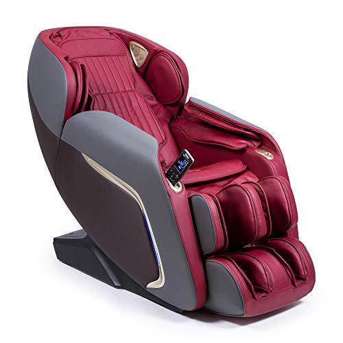 """Ananda Sillón de Masaje 2D+ - Rojo (Modelo 2021) - 12 programas de Masaje Profesional y presoterapia - Termoterapia - Tecnología Gravedad y Espacio """"Cero"""" - Sonido Envolvente 3D Bluetooth - USB"""