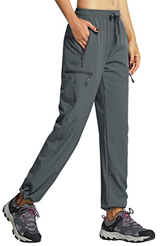Libin Women's Cargo Hiking Pants Lightweight Quick Dry Pants Athletic Workout Casual Outdoor Zipper Pockets, Gray S
