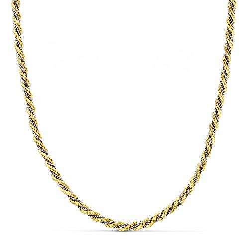 Cordón Salomónico Oro bicolor 18k Cadena 45cm 3mm