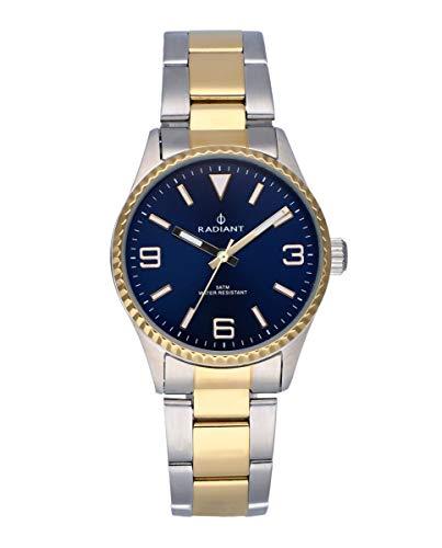 Reloj analógico para Mujer de Radiant. Colección Mulan. Reloj Bicolor Plateado y Dorado con Brazalete, Esfera Azul y Bisel dentado. 5ATM. 34mm. Referencia RA537202.