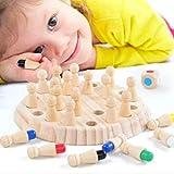 Fahooj Hölzernes Gedächtnis-Schach,Schachspiel Lernspielzeug Eltern-Kind-Interaktion Spielzeug,Schach + Schachbrett + Würfel-Satz (17.5×17.5×5.5cm, Mehrfarbig) -