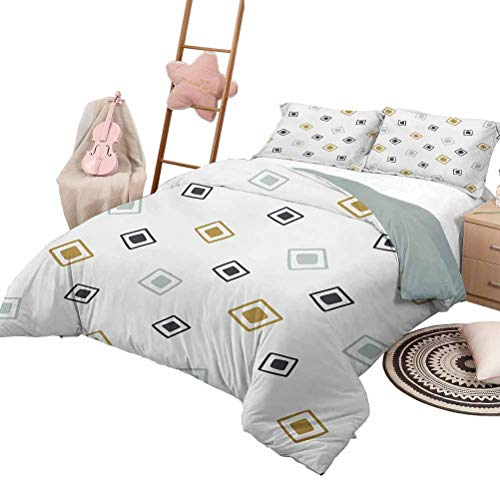 Daybed Quilt Set Native American Custom Bedding Machine Washable Tribal Pattern Random Squares Geometric Native Aztec Influences Queen Size Baby Blue Gold Black
